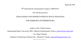 CHALLENGES AND OPPORTUNITIES IN SPACE FINANCING FOR EMERGING ENTERPRENEURS