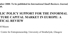 PUBLIC POLICY SUPPORT FOR THE INFORMAL VENTURE CAPITAL MARKET IN EUROPE: A CRITICAL REVIEW